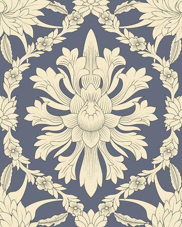 회색 배경에서 원활한 패턴 중국어와 흰색 요소 일러스트