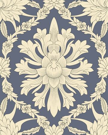 chinese scroll: Seamless pattern chinese and white elements in grey background