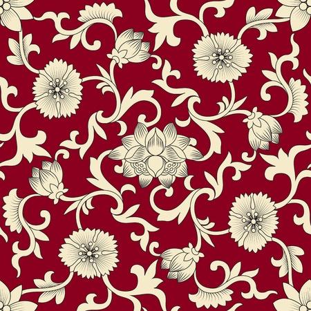 flores chinas: Elementos China y blanco de patr�n transparente en fondo rojo