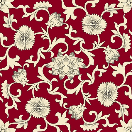 Seamless pattern chinese and white elements in red background Vector