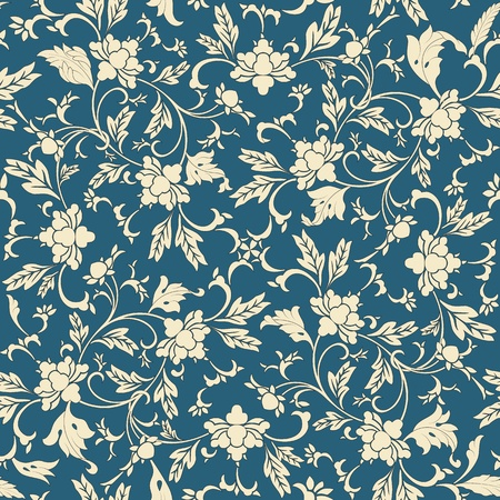 wallpaper pattern: Seamless pattern oriental and white elements in blue background
