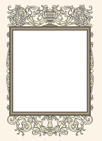 voluptuous: vintage photo frame ornamental vector in seventeenth-century French  style Illustration