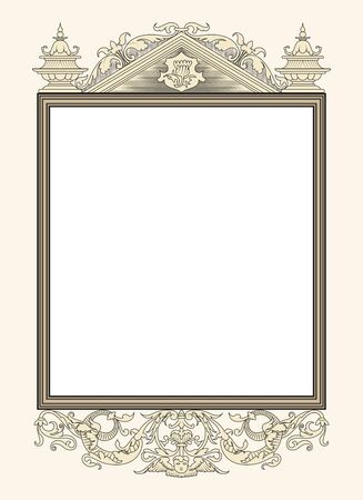 vintage frame vector: vintage photo frame ornamental vector in seventeenth-century French  style Illustration