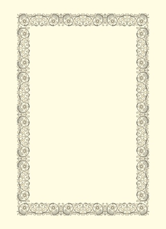 vintage photo frame ornamental vector in seventeenth-century French  style Illustration