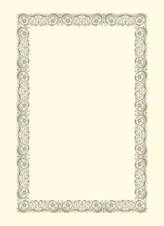 vintage photo frame: vintage photo frame ornamental vector in seventeenth-century French  style Illustration