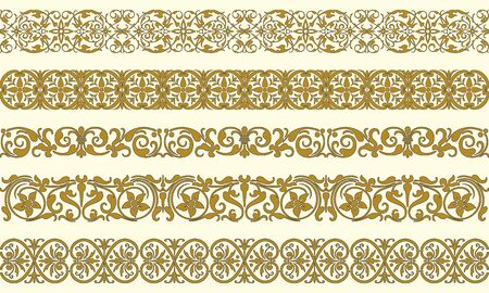stencil art: Set of five decorative borders