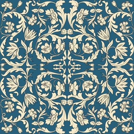 Nahtlose Muster weißer und chinesischen Elemente in blauem Hintergrund