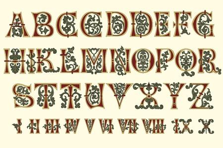 Alfabet middeleeuwse en Romeinse cijfers van de elfde eeuw Vector Illustratie