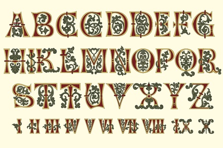 Chiffres alphabet médiéval et Roman du XIe siècle Vecteurs