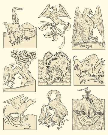 Set of animals and medieval scenes, real and mythological