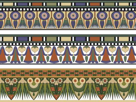 egyptian culture: Set of three Egyptian border
