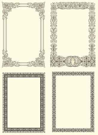 retro revival: Set of four vintage frame ornamental  in seventeenth-century French  style