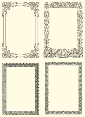 Set of four vintage frame ornamental  in seventeenth-century French  style Stock Photo - 10020231