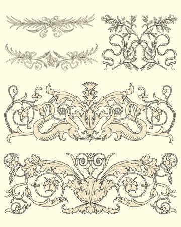 voluptuous: Set of five clasical ornamental design vector Illustration