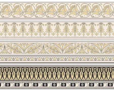 adornment: Set di quattro bordi decorativi ornamentali in file vettoriali modificabili