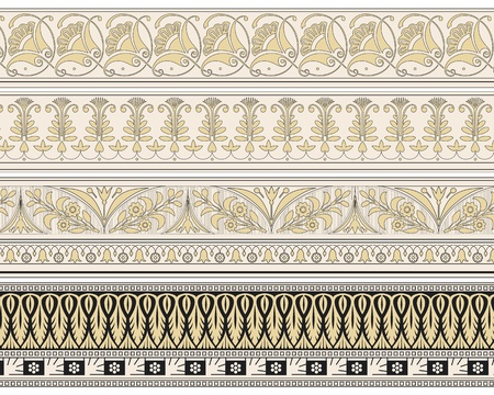 filigree background: Set of four decorative borders ornamental in editable vector file