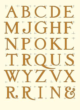 roman: Alfabeto romano con mayúsculas proporcionales en archivo vectorial editable