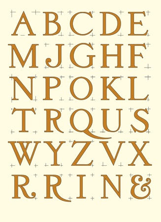 ancient roman: Modern roman alphabet with proportional capital letters in editable vector file