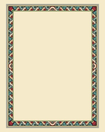 marriage certificate: arabesque border frame illustration file