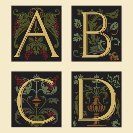 Sixteenth-Century alphabet A B C D Vector
