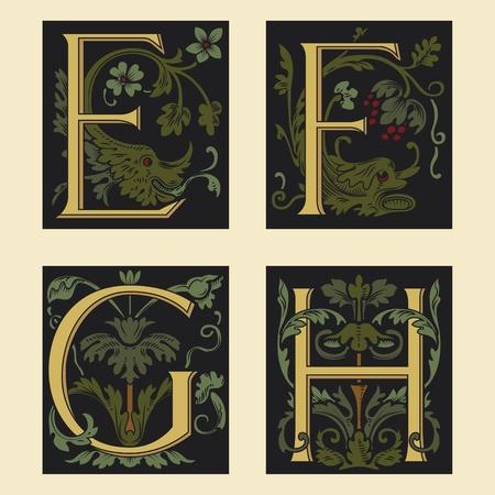 Del siglo XVI alfabeto EFGH Ilustración de vector