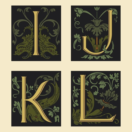 Sixteenth-Century alphabet I J K L Vetores