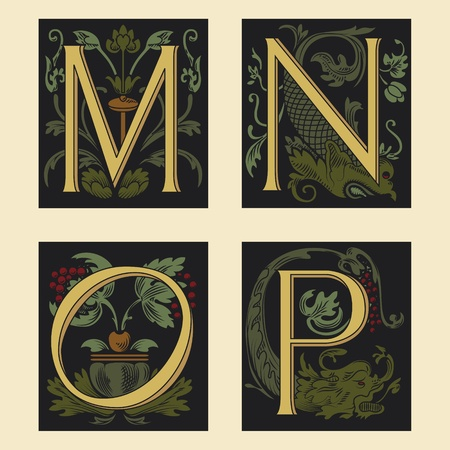 Alfabeto del siglo XVI M N O P  Ilustración de vector