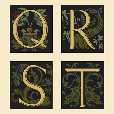 Sixteenth-Century alphabet Q R S T  Vector