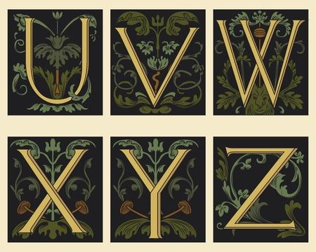 Del siglo XVI alfabeto UVWXYZ