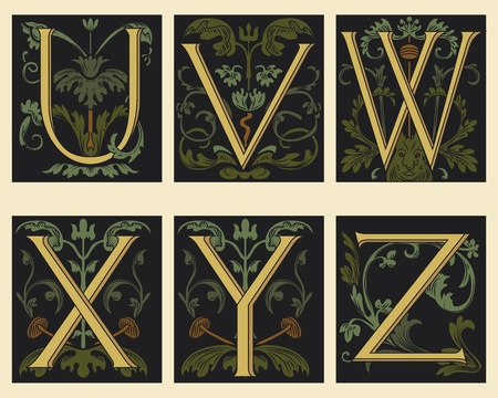 old writing: Sixteenth-Century alphabet U V W X Y Z