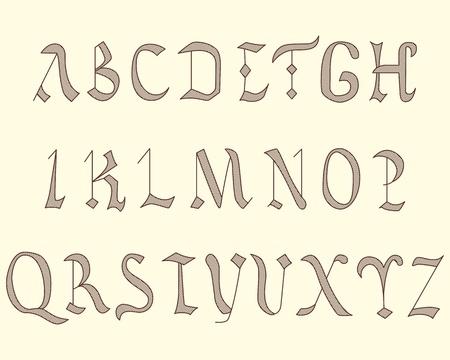 Alphabet Vatican in eighth century style vintage Vector