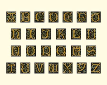 alfabet z początku 16 wieku w edytowalny plik wektorowy Ilustracje wektorowe