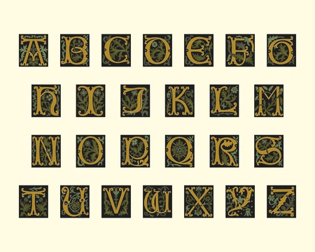 codex: alphabet of early 16th century in editable vector file