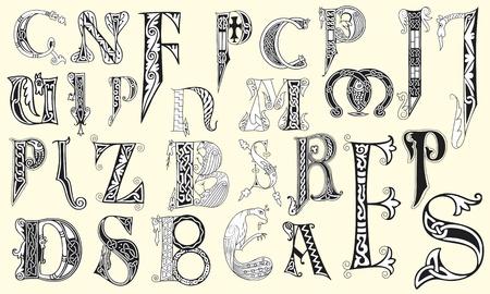 initial: Varie lettere maiuscole medievale in file vettoriali modificabili