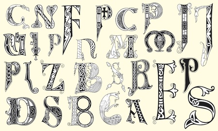 codex: Various medieval capital letters in editable vector file Illustration
