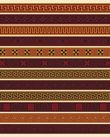 neocl�sico: Conjunto de diez las fronteras griegas en archivo vectorial editable