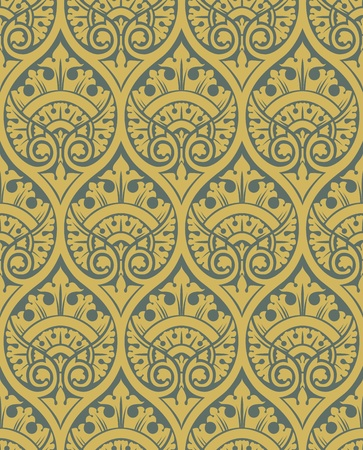 tapestry: Classic seamless patter yellow in editable vector file