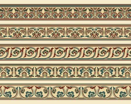 adornment: Serie di cinque bordi decorativi ornamentali in file vettoriali modificabili