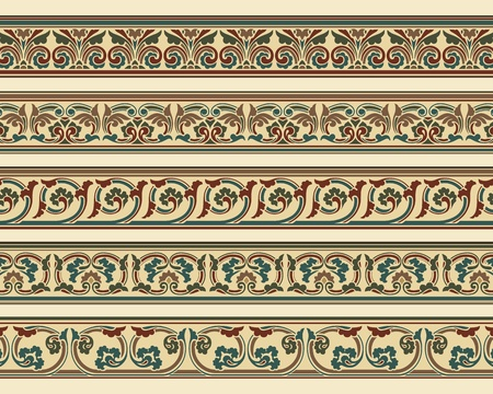 adornment: Set of five decorative borders ornamental in editable vector file