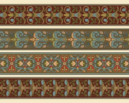 adornment: Set of four decorative borders ornamental in editable vector file