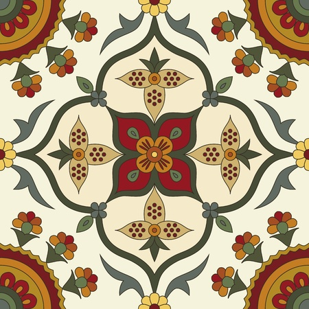 floral pattern motif: classic vintage seamless pattern in editable vector file Illustration