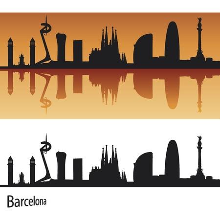 Barcellona Skyline in sfondo arancione in file vettoriali modificabili Vettoriali