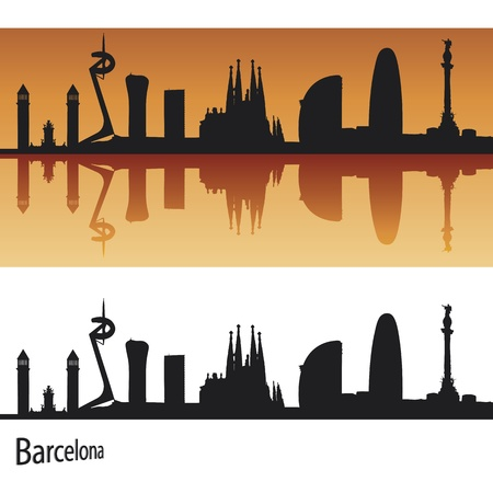 panoramic view: Barcelona Skyline in orange background in editable vector file