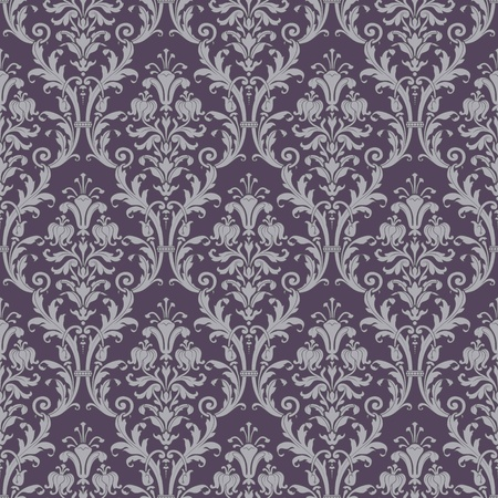 baroque background: damask seamless pattern in purple and gray in editable vector file