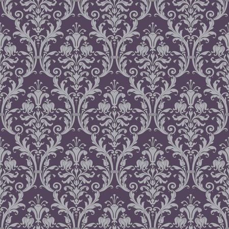 damast: Damast nahtlose Muster in lila und grau in editierbare Vektor-Datei