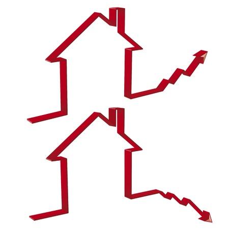 tendencja: spadek i wzrost cen mieszkań w 3D edytowalny plik wektorowy