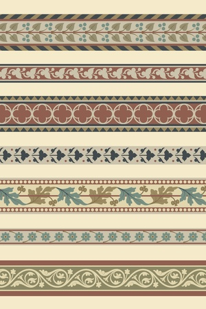 Set of seven decorative borders ornamental in editable vector file Vector