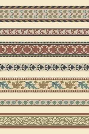 Set of seven decorative borders ornamental in editable vector file Vector