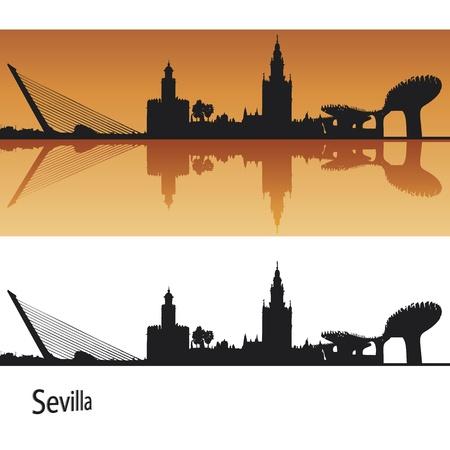 sevilla: Sevilla Skyline in oranje achtergrond in bewerkbare vector-bestand