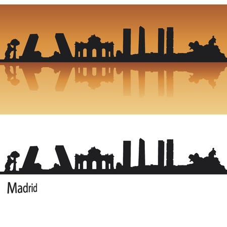 panoramic view: Madrid Skyline in orange background in editable vector file